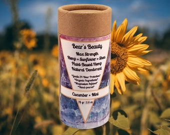 Max Strength Natural Hemp Deodorant 75mL | 2.5oz | 48 Hour Vegan Magnesium Deodorant | Hormone Friendly | Coconut Free | No Detox | Eco Tube