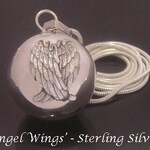 Chiming Angel Caller Harmony Ball Necklace Sterling Silver with Ornate Sterling Silver Angel Wings | Bola Necklace, Pregnancy, Maternity 721
