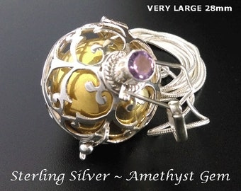 Large 28mm Harmony Ball with Amethyst Gemstone on Sterling Silver Cage, Excellent Chime   Bola Necklace, Pregnancy Gift, Angel Caller 894