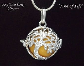Harmony Ball Sterling Silver Tree of Life Design with Yellow Chime Ball   Gifts for Women, Bola Necklace, Pregnancy Gift, Angel Caller 877