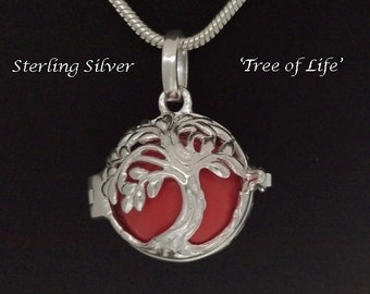 Harmony Ball Sterling Silver Tree of Life Design, Watermelon Chime Ball,  Rhodium Plated, Bola Necklace, Pregnancy Gift, Angel Caller 766