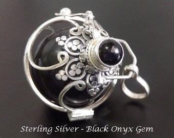 Harmony Ball, Large 26mm, Onyx Gemstone on 925 Sterling Silver Cage with Black Chime Ball   Bola Necklace, Pregnancy Gift, Angel Caller 829
