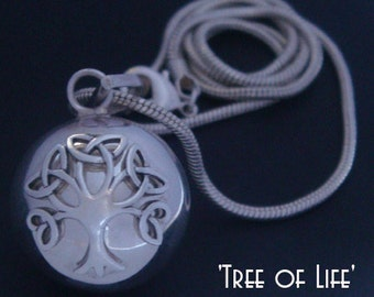 Tree of Life Necklace Harmony Ball with a 925 Sterling Silver 'Tree of Life' on a Highly Polished 925 Sterling Silver Harmony Ball   TOL005