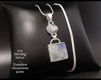 Moonstone: Sterling Silver Necklace Pendant Featuring Two Rainbow Moonstone Gemstones   Gift Idea, Gifts for Women, Gifts, Pendant 007