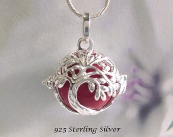 Harmony Ball Sterling Silver Tree of Life Design, Red Chime Ball   Bola Necklace, Pregnancy Gift, Angel Caller, Bola De Grossesse TOLHBP014