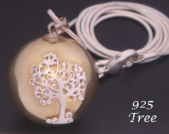 Harmony Ball with 925 Sterling Silver Tree of Life Pendant on a Brass Chime Ball Pendant   Pregnancy Gift, Bola Necklace, Angel Caller 011