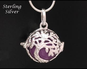 Sterling Silver Harmony Ball with Tree of Life Design and Purple Chime Ball   Gift Idea, Bola Necklace, Pregnancy Gift, Angel Caller 861
