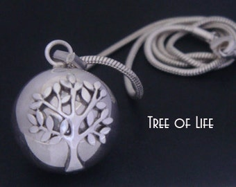 Unique Tree of Life Necklace Harmony Ball with a 925 Sterling Silver 'Tree of Life' on a Highly Polished 925 Sterling Silver Ball   TOL004