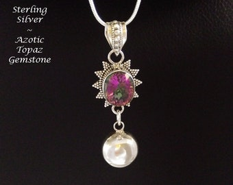 Harmony Ball Necklace, Unique Design, Sterling Silver Pendant with Azotic Topaz Gemstone and Sterling Silver Harmony Chime Ball Below, 905