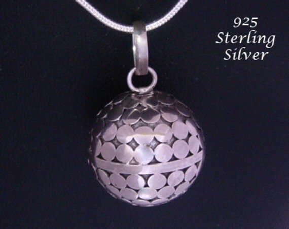 Sterling silver harmony ball necklace with highly polished etsy image 0 aloadofball Image collections
