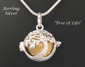 Sterling Silver Harmony Ball,Tree of Life Design with Brass Chime Ball   Rhodium Plated, Bola Necklace, Pregnancy Gift, Angel Caller 758