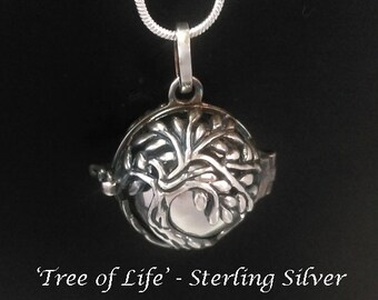 Harmony Ball Antiqued Sterling Silver Tree of Life, 925 Silver Chime Ball   Bola Necklace, Pregnancy Gift Angel Caller Bola De Grossesse 834