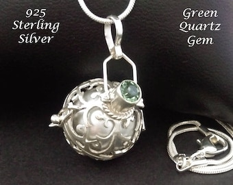 Sterling Silver Harmony Ball with Green Quartz Gem & Silver Chime Ball in 925 Silver Cage   Bola Necklace, Pregnancy Gift, Angel Caller 883