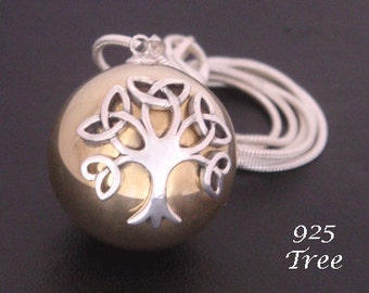 Unique Celtic Tree of Life Harmony Ball Necklace with a 925 Sterling Silver Tree of Life on a Highly Polished Brass Chime Ball   TOLHB624