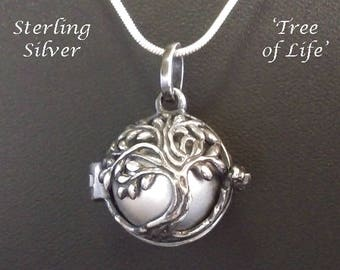 Sterling Silver Harmony Ball Antiqued Tree of Life, Silver Chime Ball   Bola Necklace, Pregnancy Gift, Angel Caller, Bola De Grossesse 885
