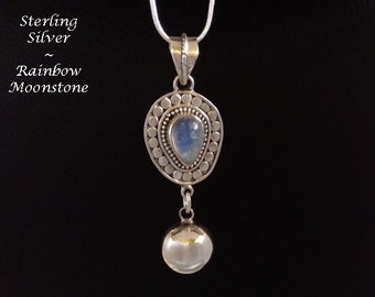 Harmony Ball Necklace Unique Design, Rainbow Moonstone Gemstone set in Sterling Silver Pendant with Sterling Silver Harmony Chime Ball, 904