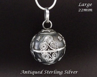 Large 22mm Harmony Ball, Balinese Motifs Antique Sterling Silver Finish   Bola Necklace, Angel Caller, Bola de Grossesse, Pregnancy Gift 896