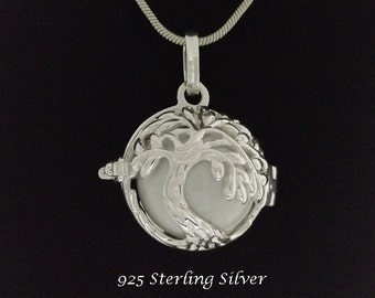 Harmony Ball Sterling Silver Tree of Life Design with White Chime Ball   Rhodium Plated, Bola Necklace, Pregnancy Gift, Angel Caller 793
