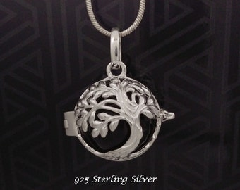 Harmony Ball Sterling Silver Tree of Life Design with Black Chime Ball   Rhodium Plated, Bola Necklace, Pregnancy Gift, Angel Caller 791