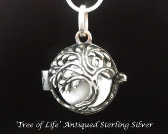 Harmony Ball Antiqued Sterling Silver Tree of Life, White Chime Ball   Bola Necklace, Pregnancy Gift, Angel Caller, Bola De Grossesse 833