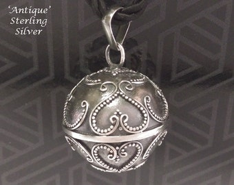 Harmony Ball Balinese Hearts Designs Antique Finish 925 Sterling Silver Chime Ball   Bola Necklace, Pregnancy Gift 739