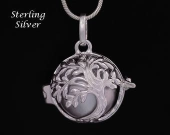 Harmony Ball Sterling Silver Tree of Life, Metallic Silver Chime Ball   Bola Necklace, Pregnancy Gift, Angel Caller, Bola De Grossesse 867