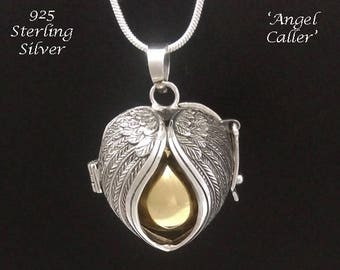 Stunning Angel Caller Harmony Ball Sterling Silver Ornate Sterling Silver Angel Wings, Brass Chime Ball | Bola Necklace,Pregnancy Gift 881