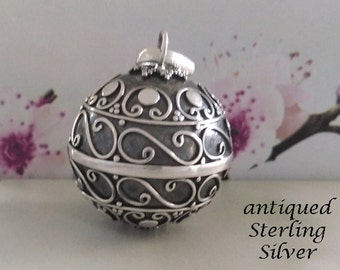 Harmony Ball with Intricate Balinese Motifs in an Antique Sterling Silver Finish  | Bola Necklace, Angel Caller, Gifts, Pregnancy Gift 725