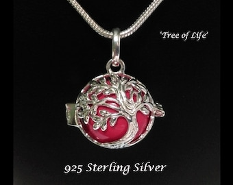 Sterling Silver Harmony Ball with Tree of Life Design and Pink Chime Ball   Rhodium Plated, Bola Necklace, Pregnancy Gift, Angel Caller 740