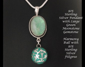 Harmony Ball Necklace, Unique  Design with 925 Sterling Silver Filigree Harmony Ball & 925 Silver Pendant with Green Moonstone Gemstone, 735