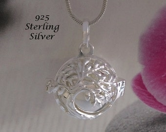 Harmony Ball Sterling Silver Tree of Life Design 925 Silver Chime Ball   Bola Necklace, Pregnancy Gift, Angel Caller, Bola De Grossesse 815