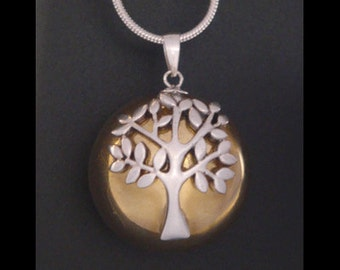 Unique Tree of Life Necklace Harmony Ball with a 925 Sterling Silver 'Tree of Life' on a Highly Polished Brass Chime Ball 006   Angel Caller