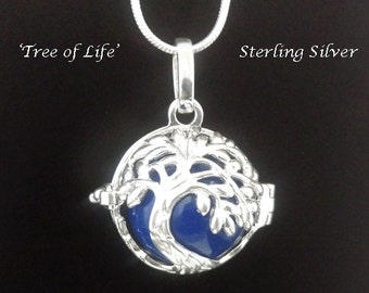 Harmony Ball Sterling Silver Tree of Life Design with Blue Chime Ball   Bola Necklace, Pregnancy Gift, Angel Caller, Bola De Grossesse 835