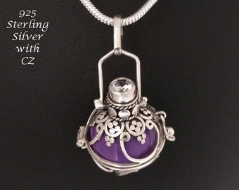 Harmony Ball Necklace Sterling Silver with Dazzling CZ on 925 Silver Cage & Purple Chime Ball   Bola, Pregnancy Gift, Angel Caller, Gift 752