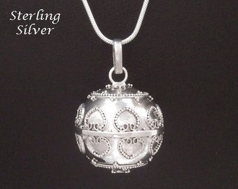 Large Sterling Silver Harmony Ball with Hearts Designs, Lovely Chime Sound   Bola Necklace, Bola de Grossesse, Pregnancy Gift 901