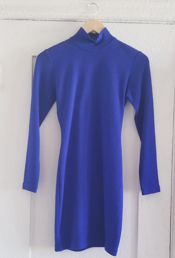 80s Vintage Royal Blue Fitted Dress