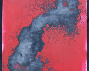 Black on Red Squirt Painting