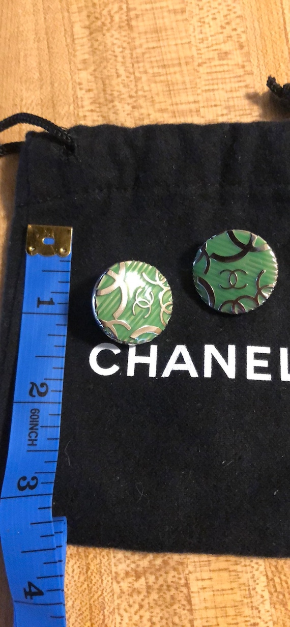 New Chanel Button Earrings. Green and silver