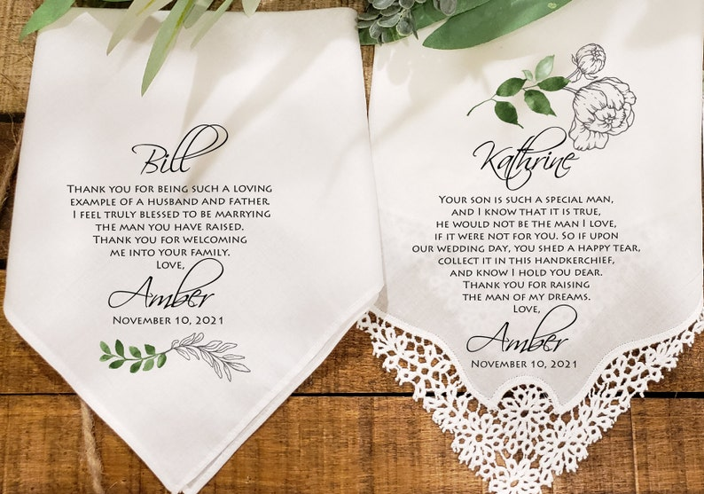 Parents of groom gift,POG1 Wedding handkerchief from daughter in-law Mother and Father of the Groom handkerchief from the Bride