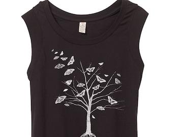 Womens tree cap sleeve shirt - Butterflies - Womens top - art nouveau - hippie chic- stylish - outdoors -fashion - small, medium, large, xl