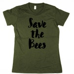 Bees T-shirt - Womens Save the Bees Shirt - bumble bee, honey bee, womens, ladies, Moss, Brown, Navy, Small, Medium, Large, XL, 2XL