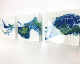 Painting - 3 piece set -  Quadriptych  - Acrylic Painting - Abstract Painting  - Art - Wall art
