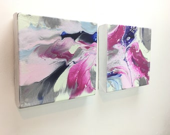 """Pink Diptych Fluid Painting - 2 piece Painting Acrylic Painting - Abstract Painting - 2 Paintings - 8"""" x8""""x1"""" - Art - Wall ar"""