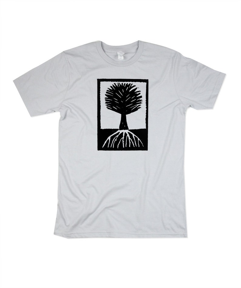 Mens Wood Cut Style Tree Tshirt  Mens Platinum Tree Shirt  image 0