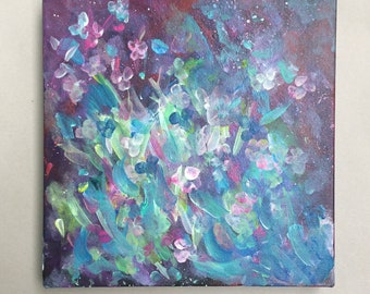 """Flower Painting - Abstract  Acrylic Painting - Abstract Painting - 12"""" x12""""x1"""" - Art - Wall Art"""