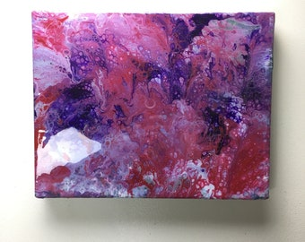"""Pink Abstract Fluid Painting - Acrylic Painting - Abstract Painting - 12"""" x 18""""x1"""" - Art - Wall art"""