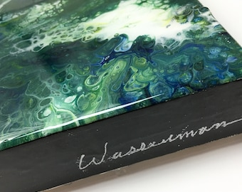 """Green Painting - Acrylic Painting - Abstract Painting - 12"""" x 18""""x1"""" - Art - Wall art"""