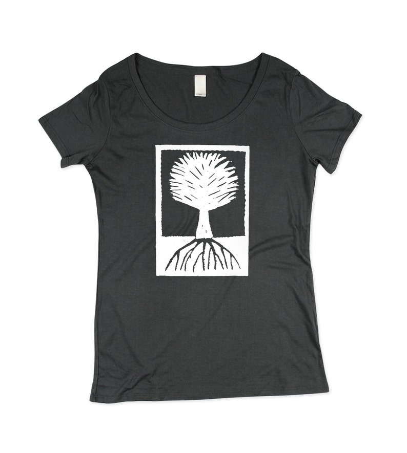 Womens Tree T-shirt   BAMBOO  Charcoal Grey Wood Cut Tree image 0