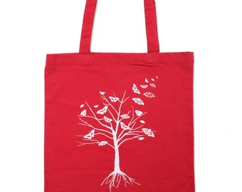 Red Butterfly Tree Cotton Tote Bag