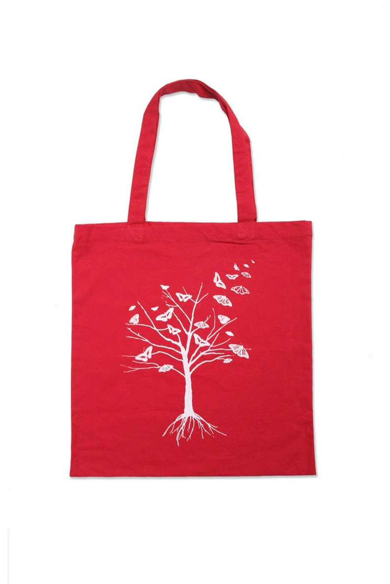 Tree Tote Bag  Red Butterfly Tree Tote Bag image 0